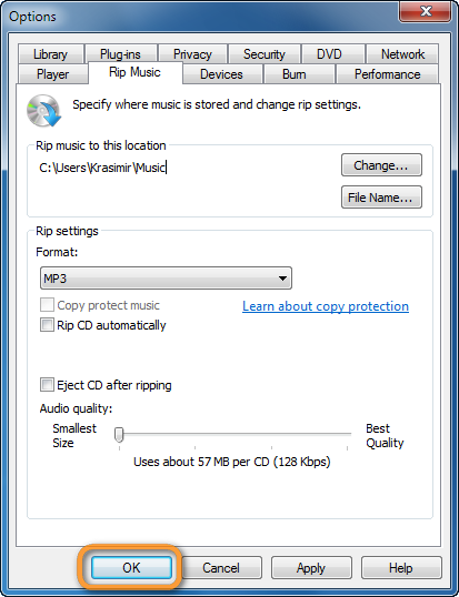 windows media player cd rip options ok button