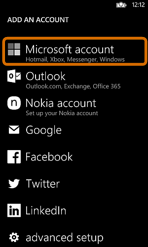 add microsoft account to nokia lumia