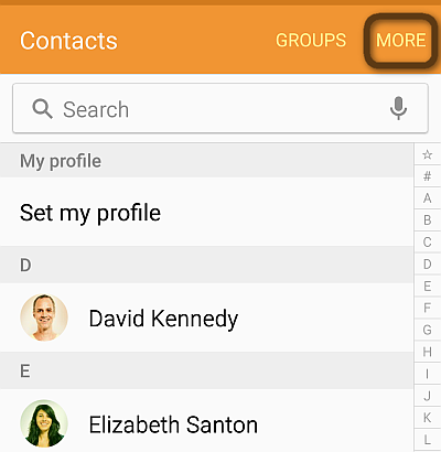 more button in contacts app on android
