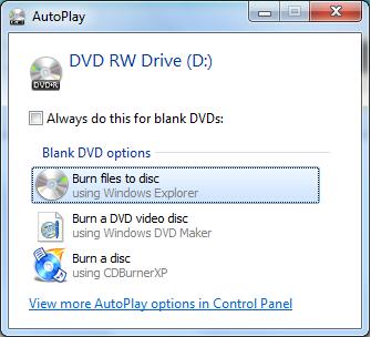 windows autoplay burn files to disc