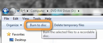 burn to disc button in windows explorer
