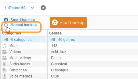 choose manual backup in main copytrans window