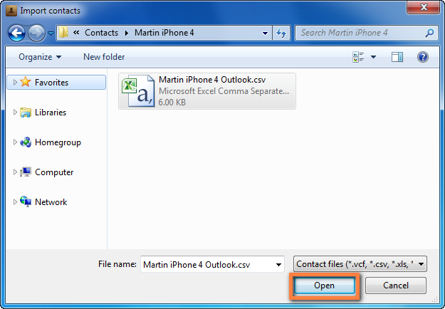 how to create csv file for iphone contacts