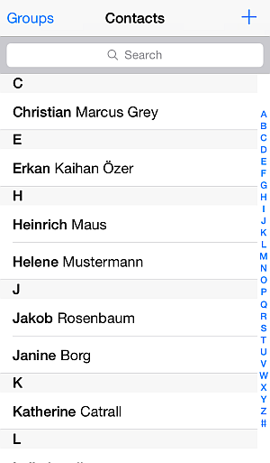 iphone address book with contact entries