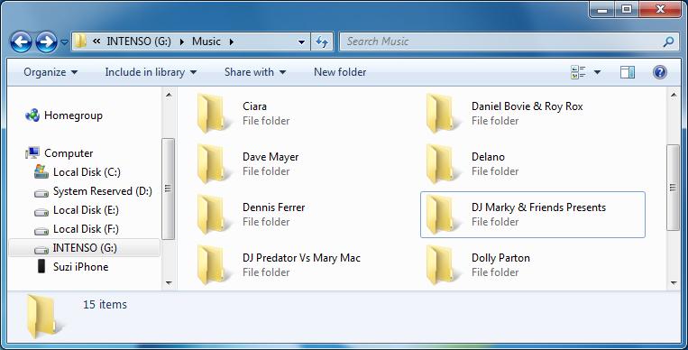 iphone music in pc folder