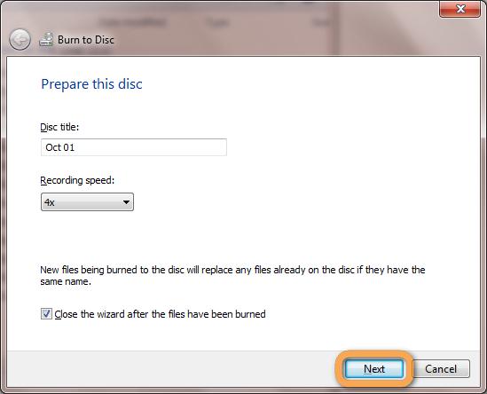 windows burn disc wizard