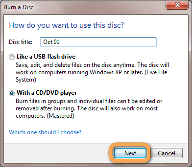 burn disc as usb drive or for cd/dvd player
