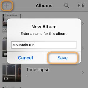 create new photo album on iphone