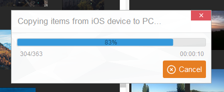 transfer of ipad photos to pc in progress
