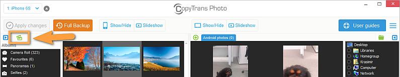 create new iphone album in copytrans photo