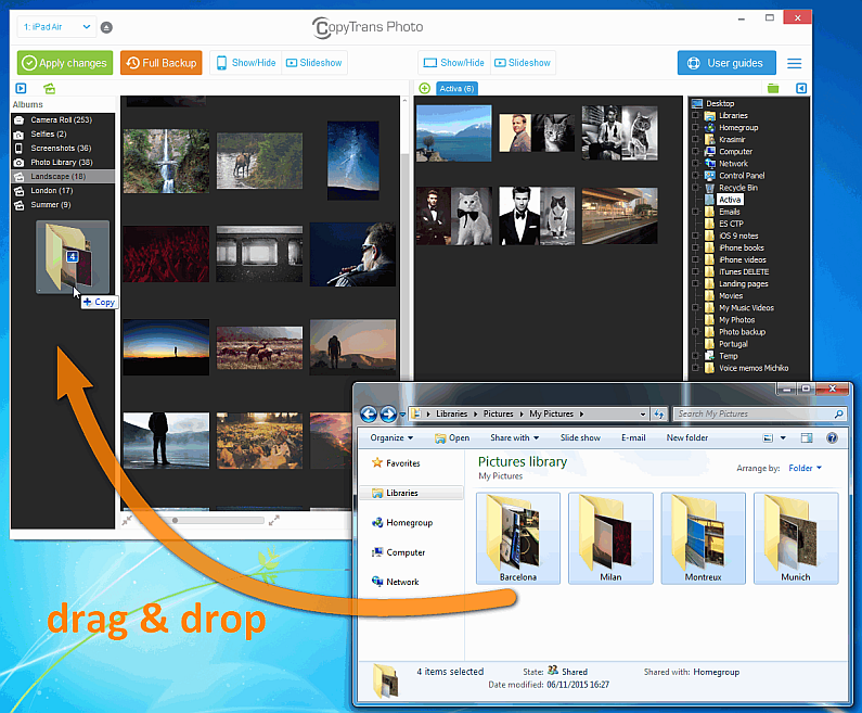 drag and drop folders from explorer to main copytrans photo window