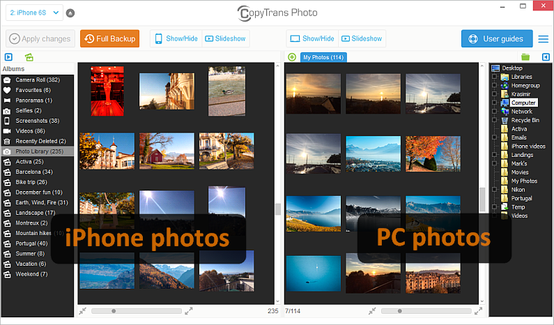 main program window with iphone and pc photos displayed