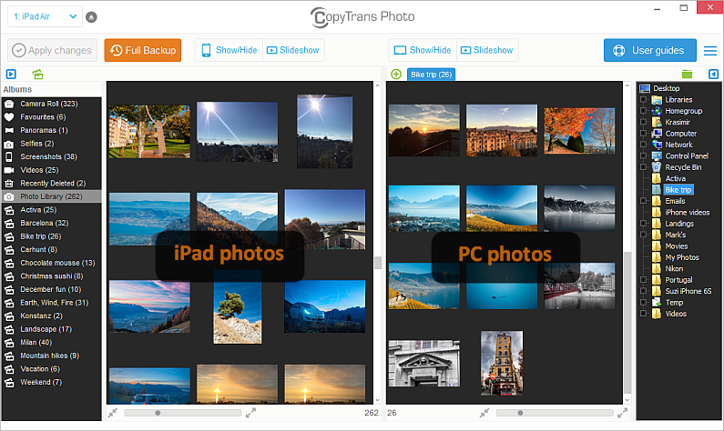 ipad photos listed in copytrans photo