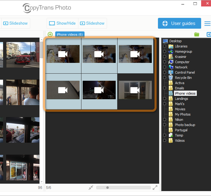 iphone video selection in main program window