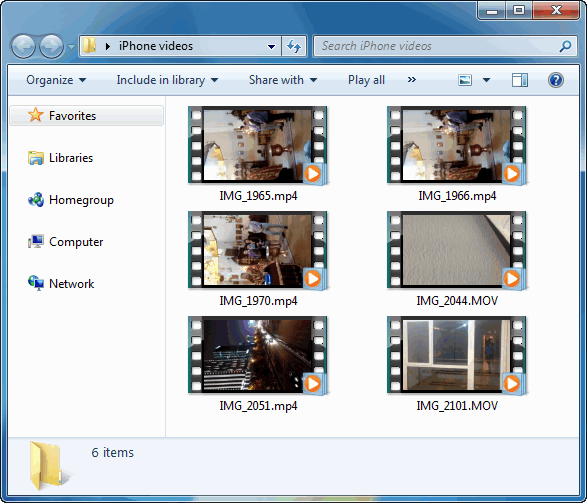 iphone videos in windows explorer
