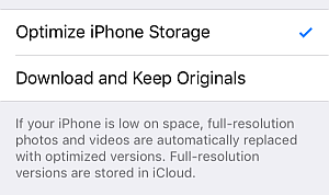 optimize iphone storage option ticked