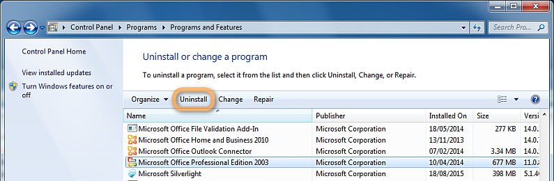 uninstall microsoft office from windows pc