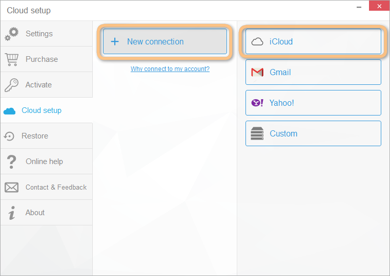 click to connect icloud contacts account with copytrans contacts