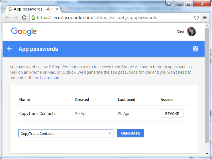 Generate app password for CopyTrans