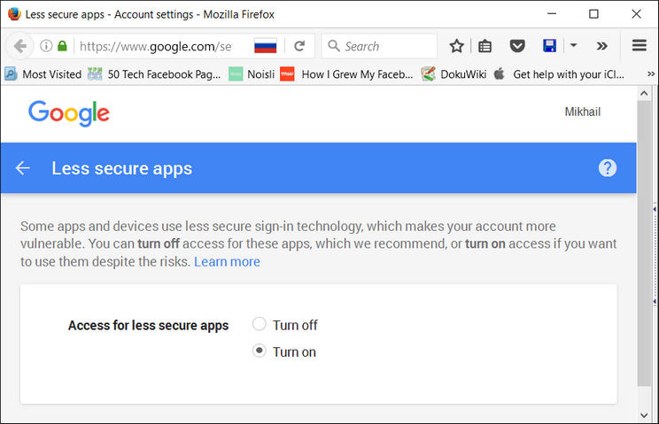 Google security turn on