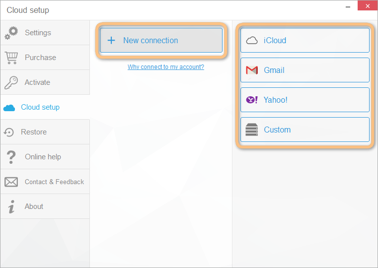connect cloud account for ability to edit icloud, gmail or yahoo contacts