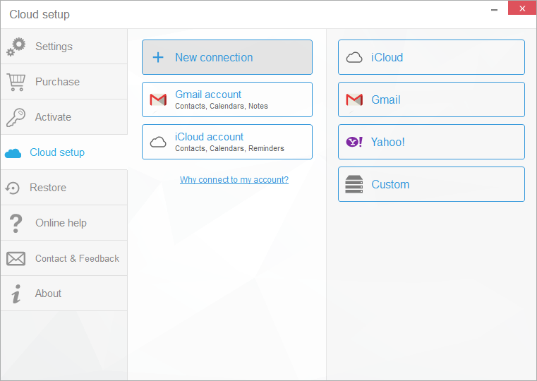 cloud setup window showing icloud gmail and yahoo accounts connected