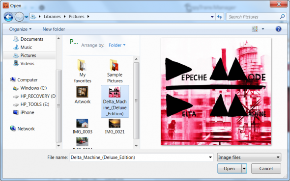 Browse for the previously saved artwork on your PC and double-click to choose it