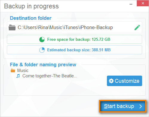 Start backup of the selected playlists to iTunes or to pc