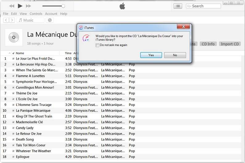 import cd into itunes