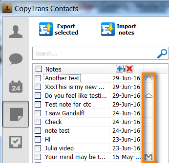 icloud notes in copytrans contacts