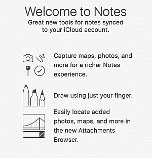 Notes synced with iCloud