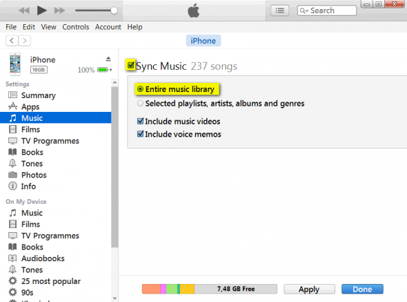 Sync music in iTunes