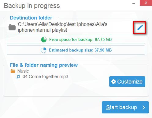 Choose destination folder to back up with CopyTrans