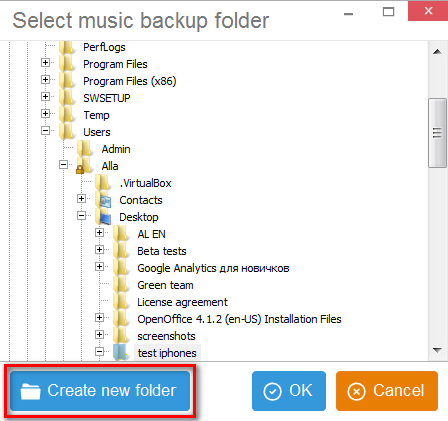 Create new folder to back up with CopyTrans