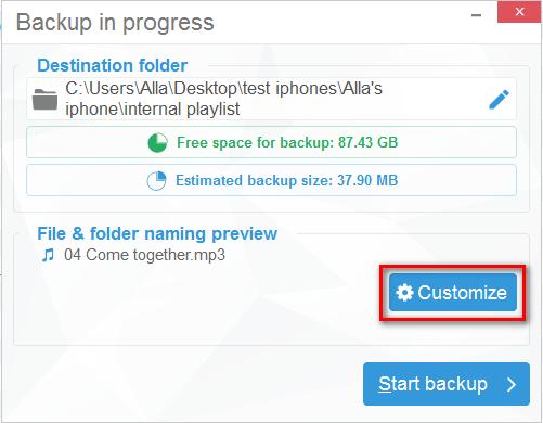 Customize folders in CopyTrans manual backup