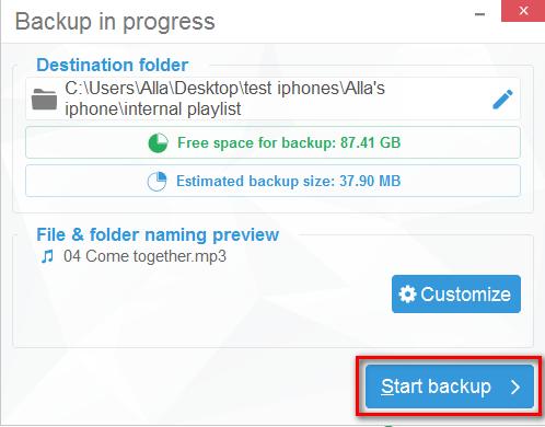 Start backup in CopyTrans