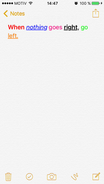 Note saved on iPhone