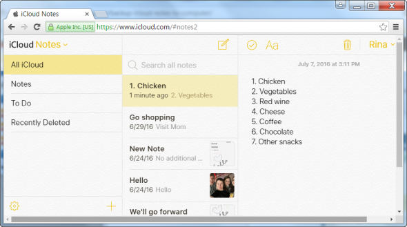 iCloud notes in your online account
