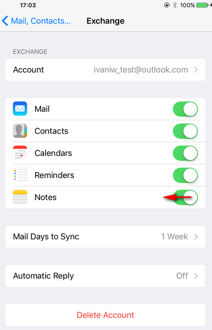 Disable notes on iphone