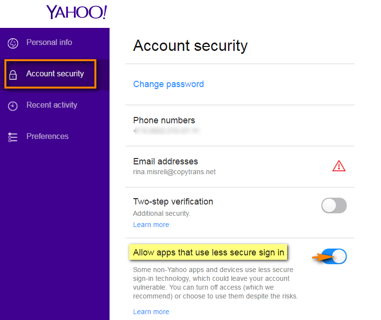 Allow apps that use less secure sign in