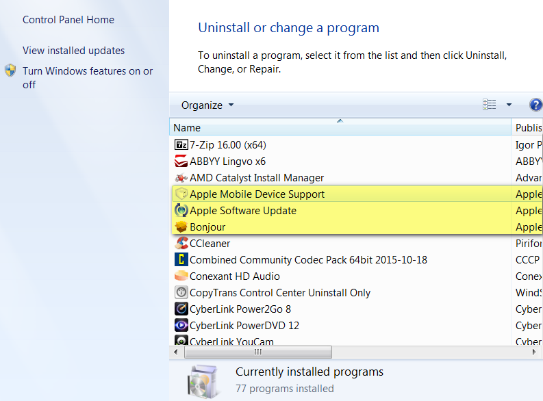 Uninstall all Apple and iTunes components