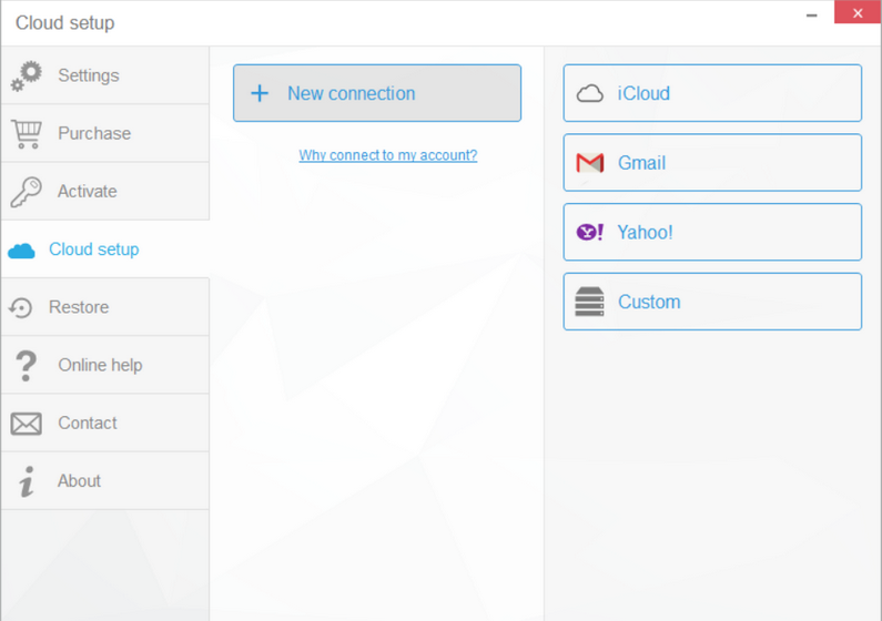 Set up your cloud accounts to manage your all your contacts., notes and calendars with CopyTrans Contacts