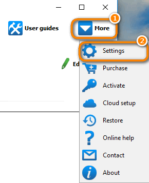 click more and then settings