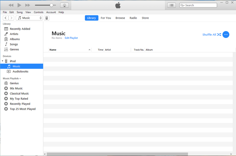 Empty itunes library
