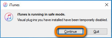 prevent itunes sync by entering into safe mode