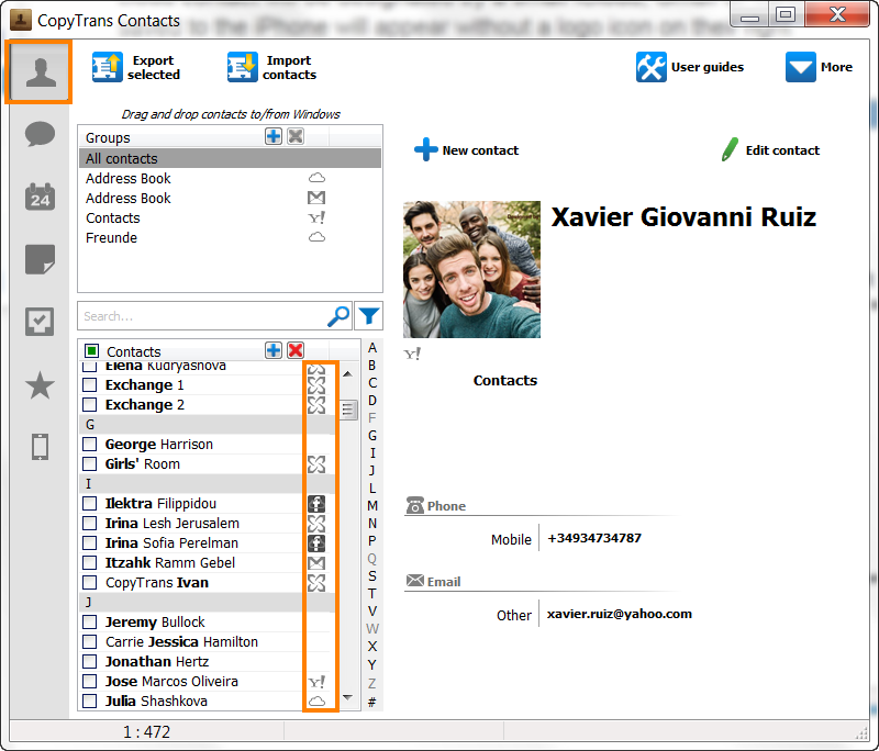 Manage iCloud, Gmail and Yahoo contacts with CopyTrans Contacts