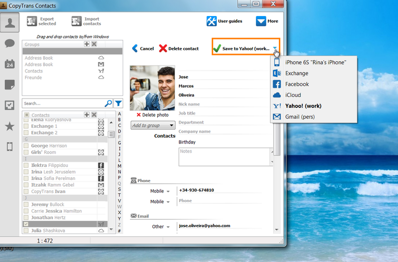 How to manage iCloud, Gmail and Yahoo contacts via CopyTrans Contacts?
