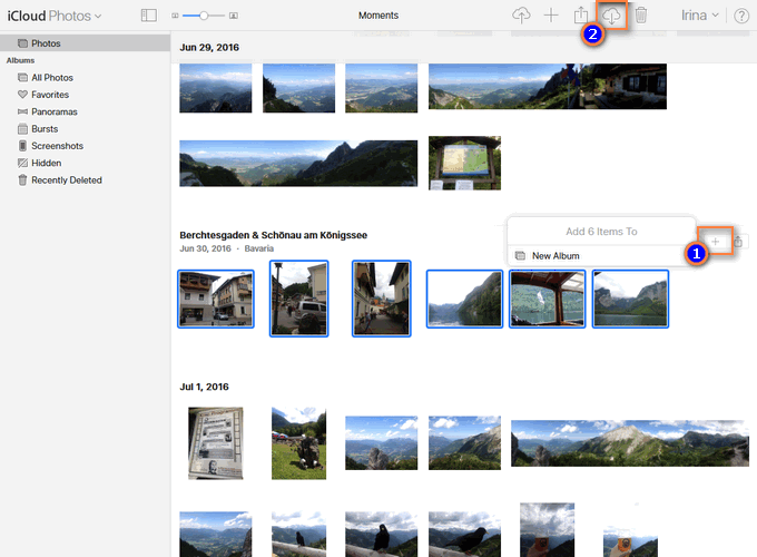 Save multiple photos from iCloud