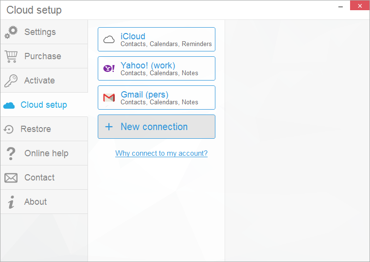 Set up your iCloud, Gmail and Yahoo! accounts to manage all your contacts, calendars and notes in CopyTrans Contacts
