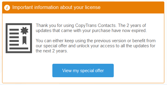 A pop up that says that your license has expired